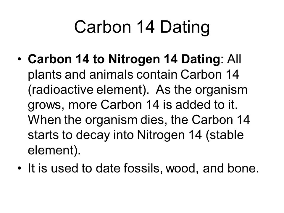 Carbon 14 dating water