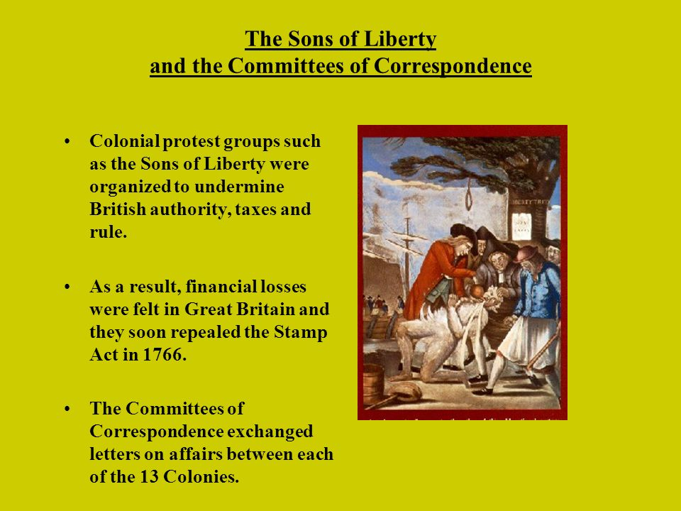 The Sons of Liberty and the Committees of Correspondence
