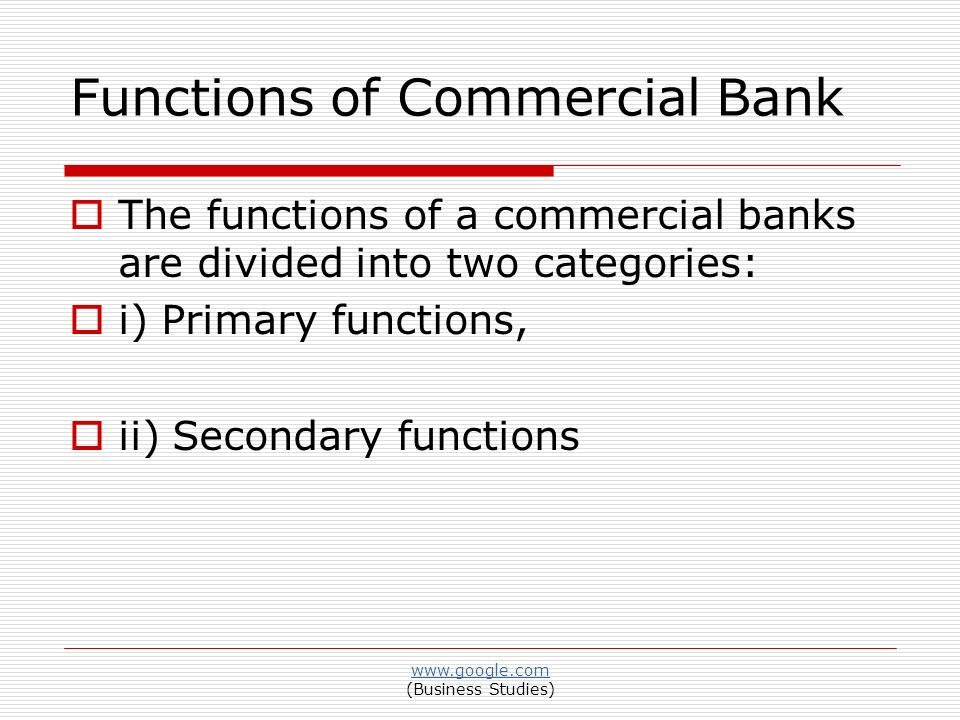 discuss the function of commercial bank