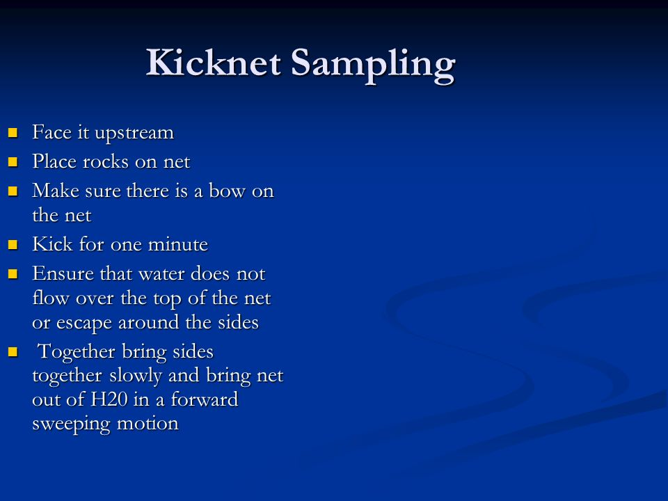 Kicknet Sampling Face it upstream Place rocks on net