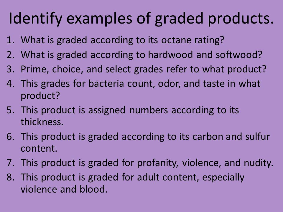 Identify examples of graded products.