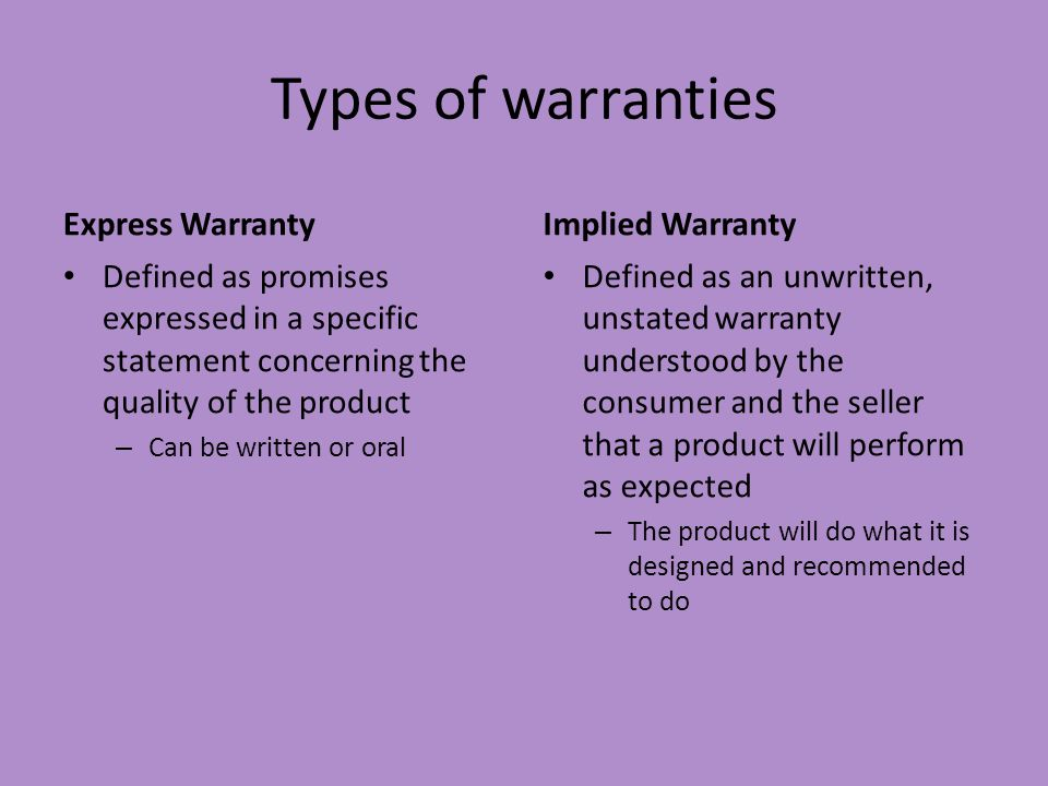 Types of warranties Express Warranty Implied Warranty