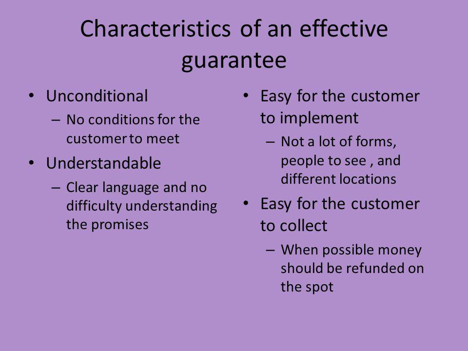 Characteristics of an effective guarantee