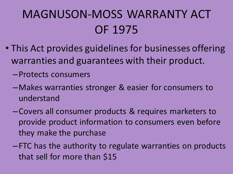 MAGNUSON-MOSS WARRANTY ACT OF 1975
