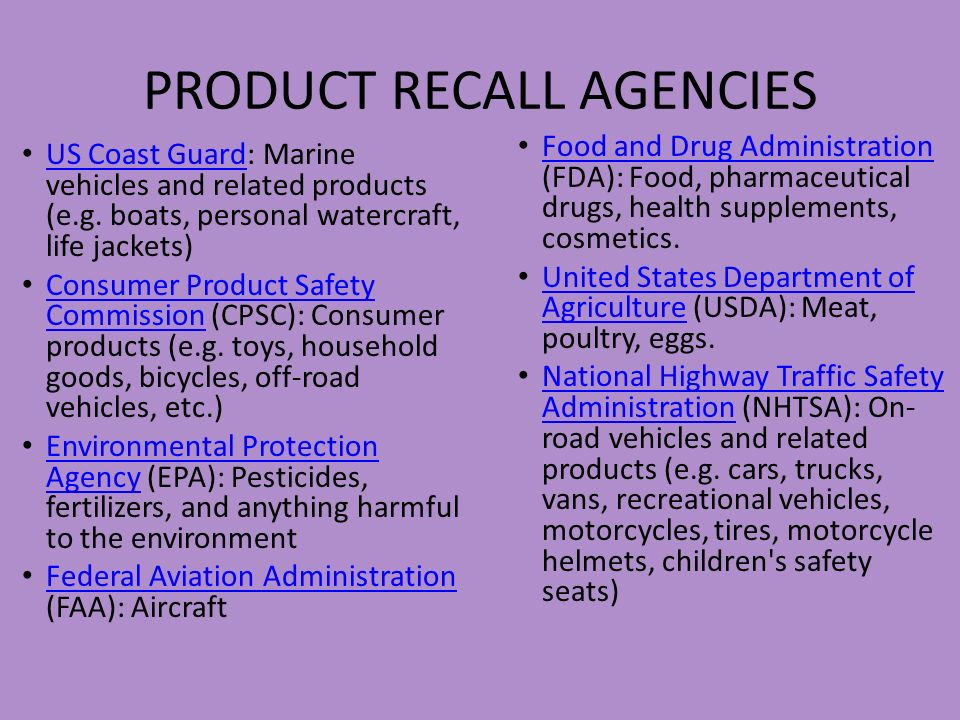 PRODUCT RECALL AGENCIES