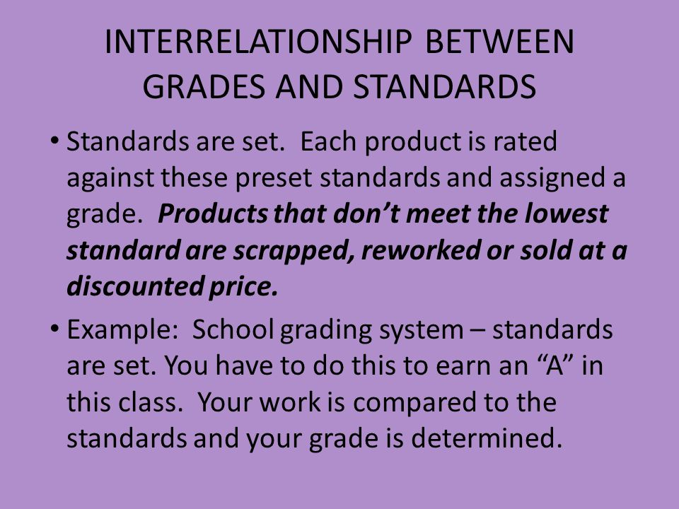INTERRELATIONSHIP BETWEEN GRADES AND STANDARDS