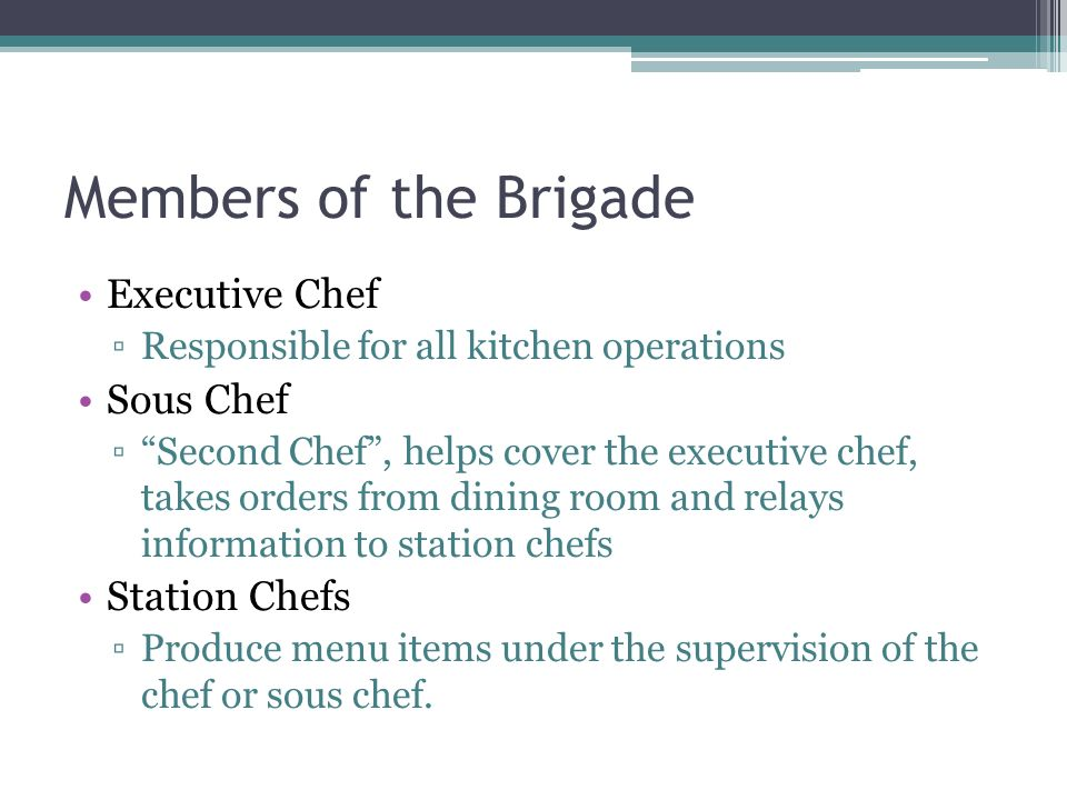 brigade executive chef essay Modern brigade de cuisine system eng1 oct 5, 2008 #1  first in command is  the executive chef or chef de cuisine this title is what most aspiring chefs.