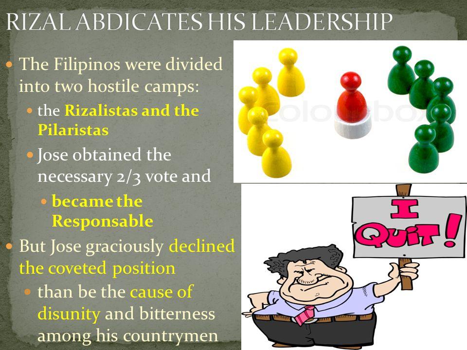 RIZAL ABDICATES HIS LEADERSHIP