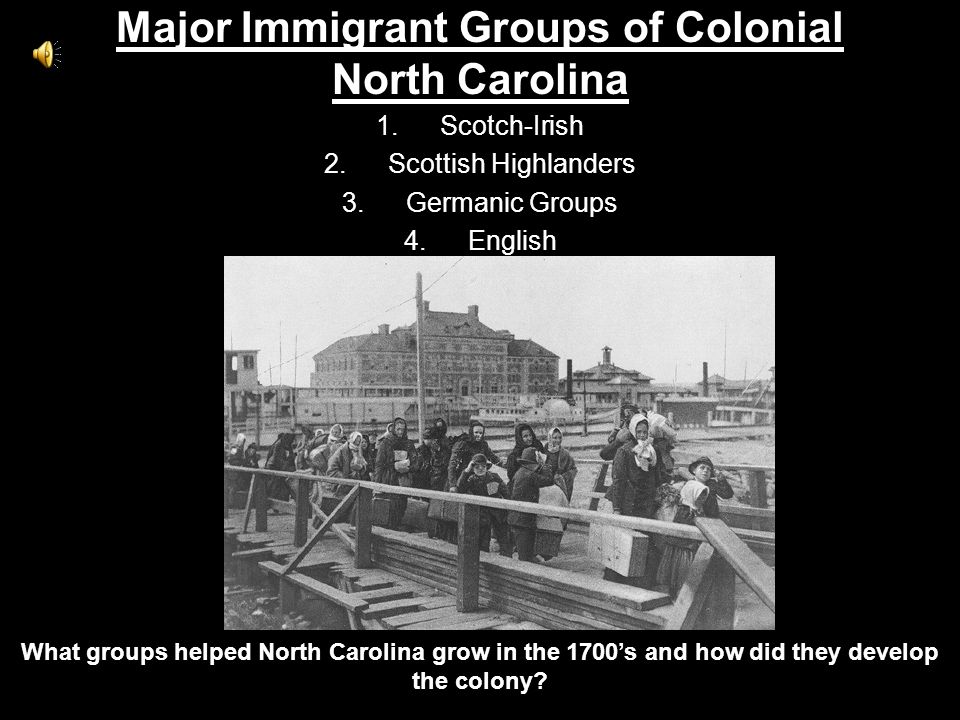 Major Immigrant Groups of Colonial North Carolina