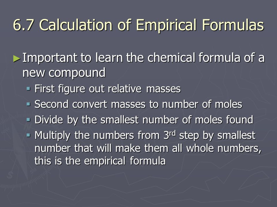 6.7 Calculation of Empirical Formulas