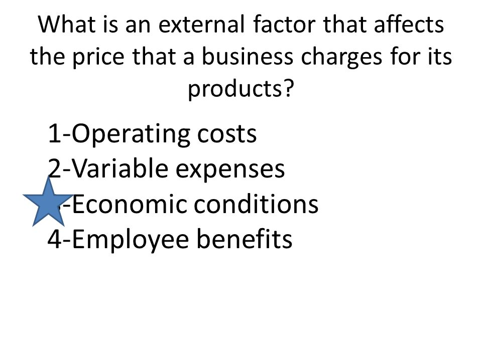 What is an external factor that affects the price that a business charges for its products