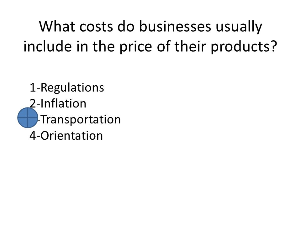 What costs do businesses usually include in the price of their products