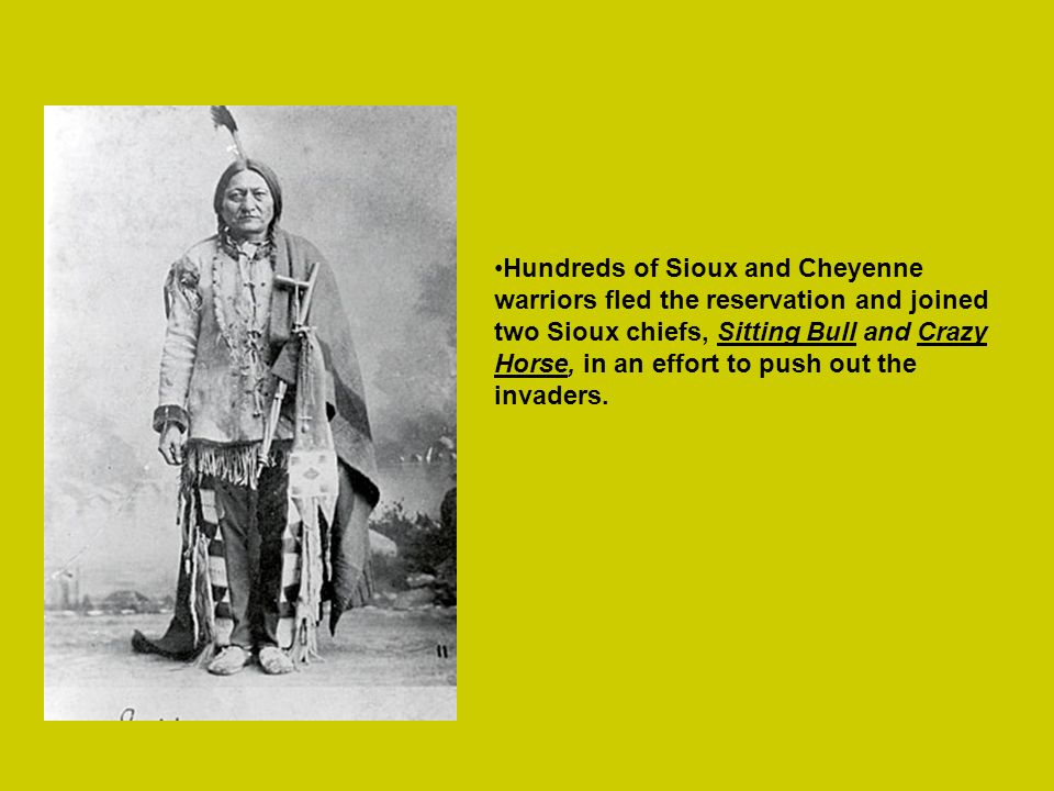 Hundreds of Sioux and Cheyenne warriors fled the reservation and joined two Sioux chiefs, Sitting Bull and Crazy Horse, in an effort to push out the invaders.