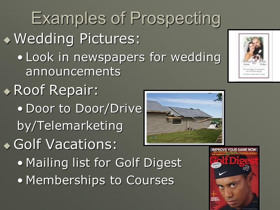 Examples of Prospecting
