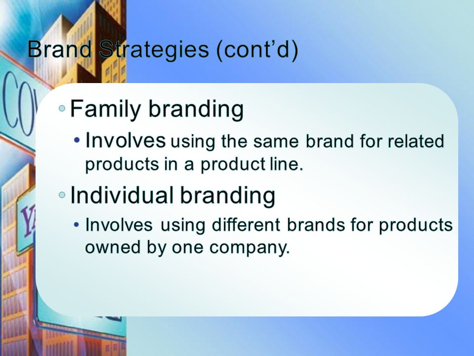 Brand Strategies (cont'd)