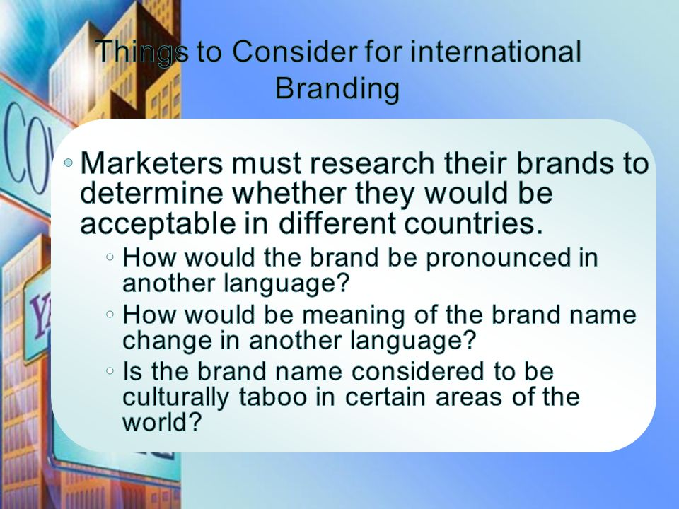 Things to Consider for international Branding