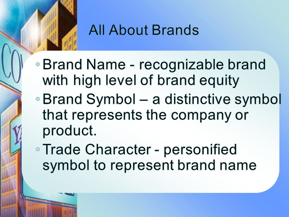 All About Brands Brand Name - recognizable brand with high level of brand equity.