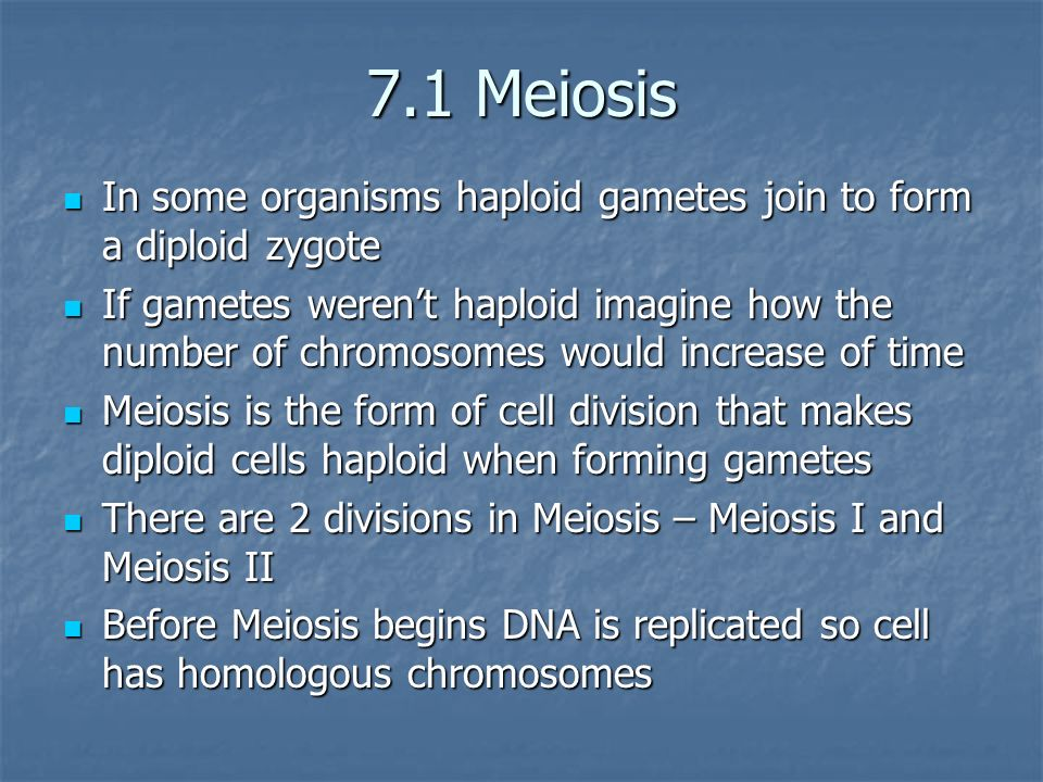 7.1 Meiosis In some organisms haploid gametes join to form a diploid zygote.