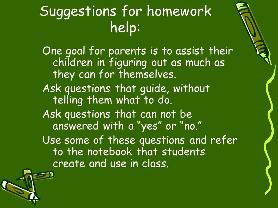 Suggestions for homework help: