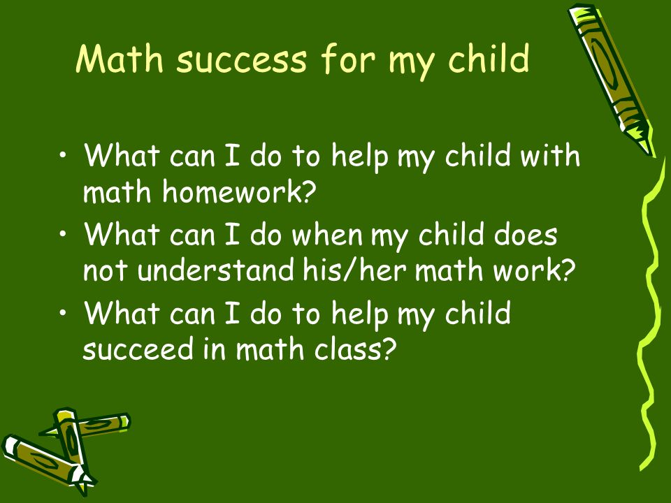Math success for my child