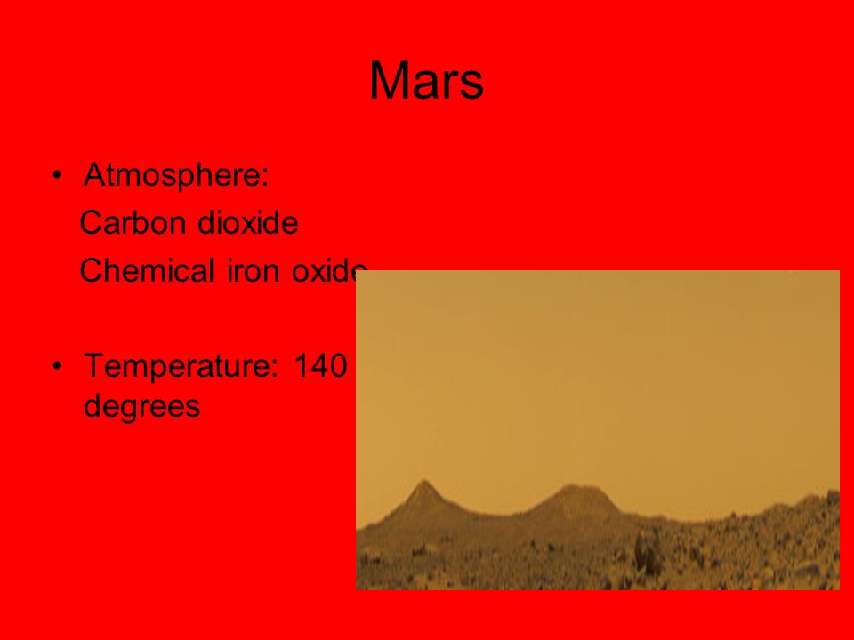 Mars Atmosphere: Carbon dioxide Chemical iron oxide
