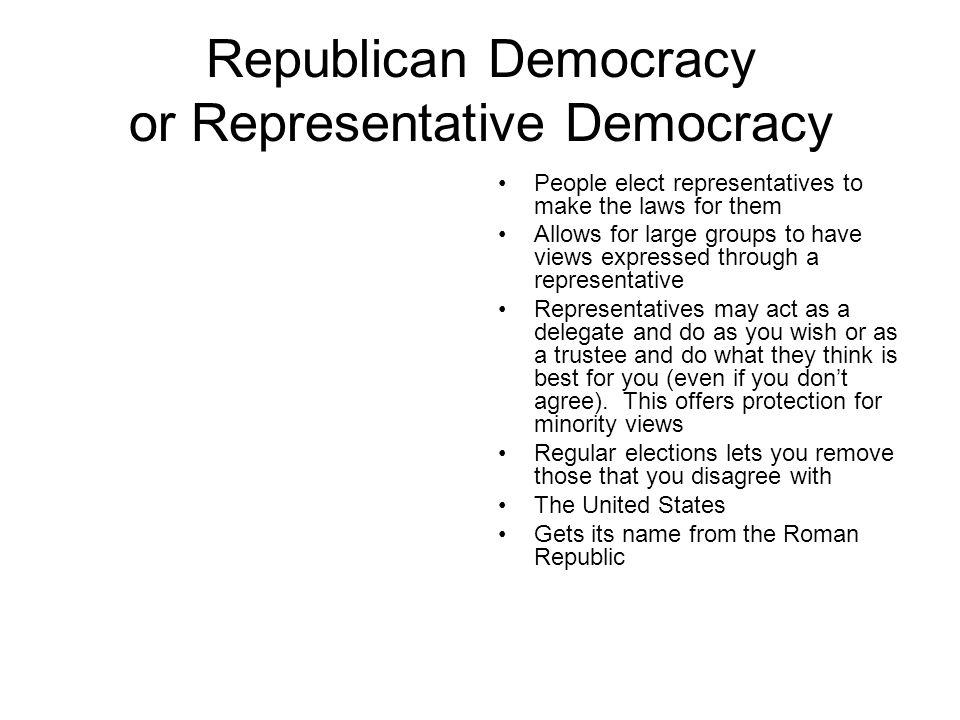 Republican Democracy or Representative Democracy