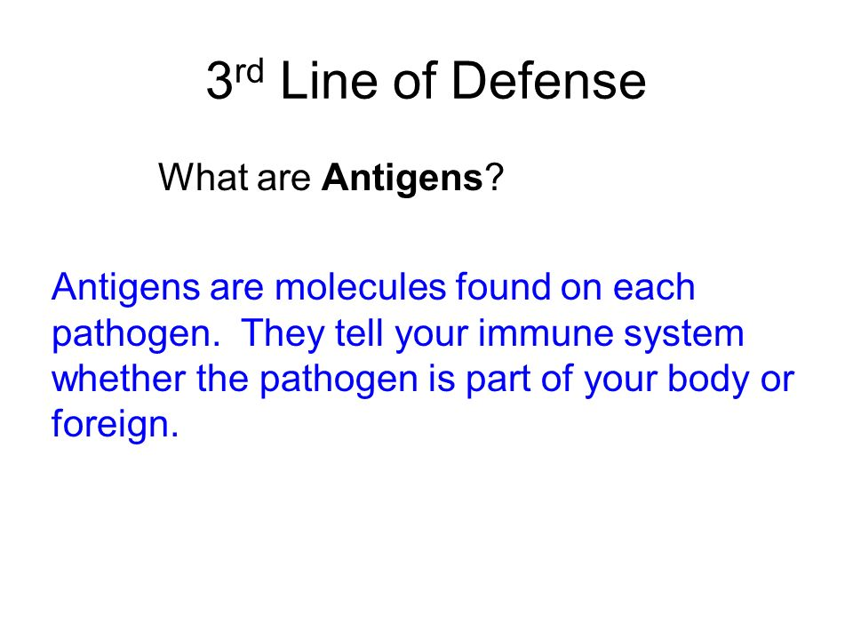 3rd Line of Defense What are Antigens