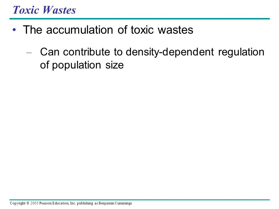 The accumulation of toxic wastes