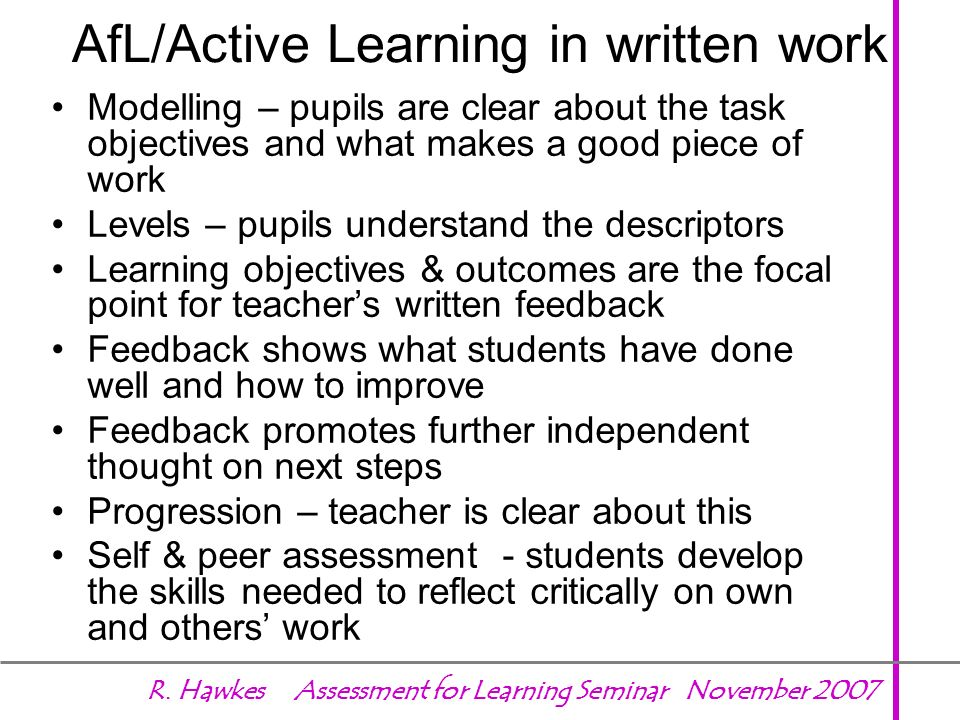 AfL/Active Learning in written work