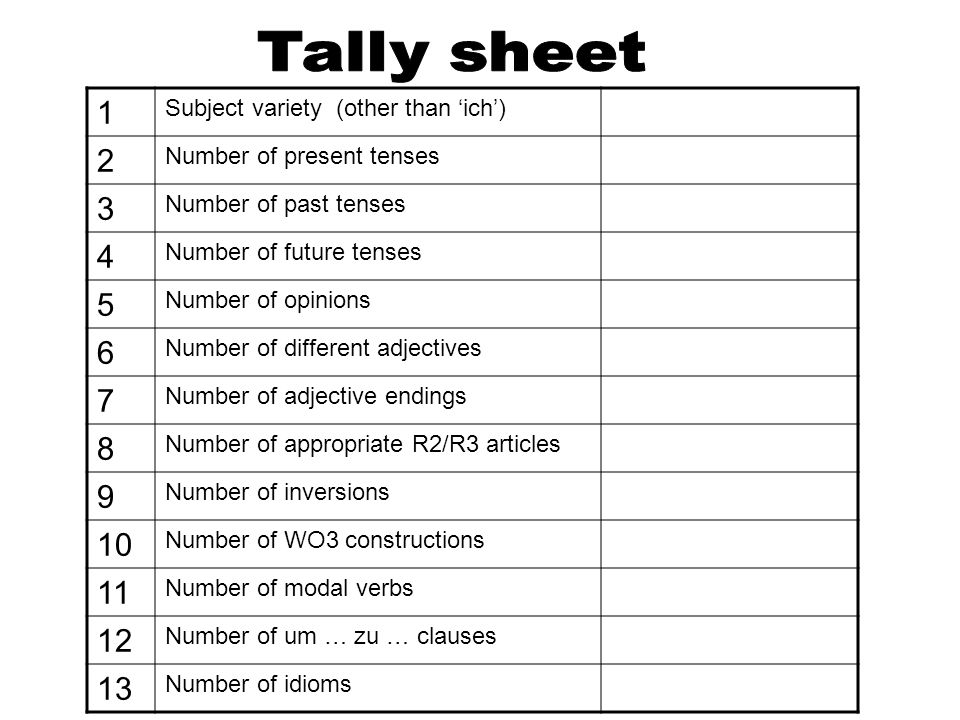 Tally sheet1. Subject variety (other than 'ich') 2. Number of present tenses. 3. Number of past tenses.