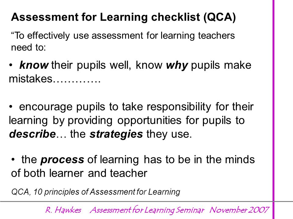 Assessment for Learning checklist (QCA)