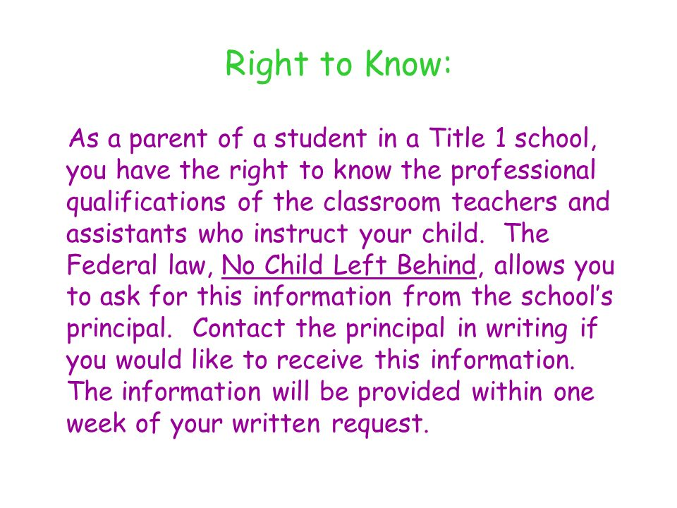 Right to Know: