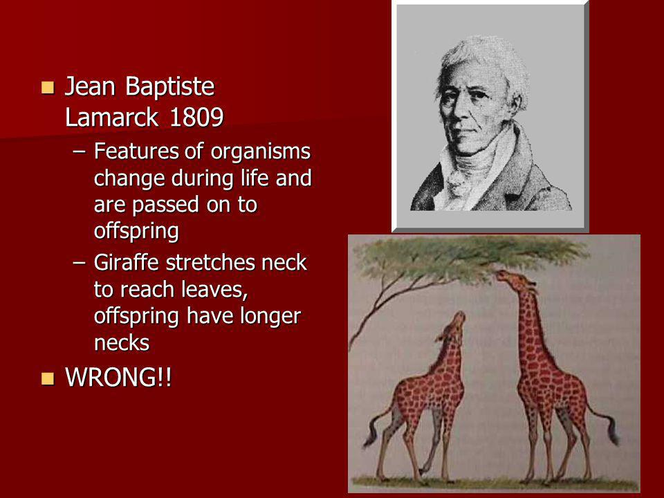 Jean Baptiste Lamarck 1809 WRONG!!