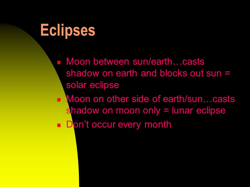 Eclipses Moon between sun/earth…casts shadow on earth and blocks out sun = solar eclipse.
