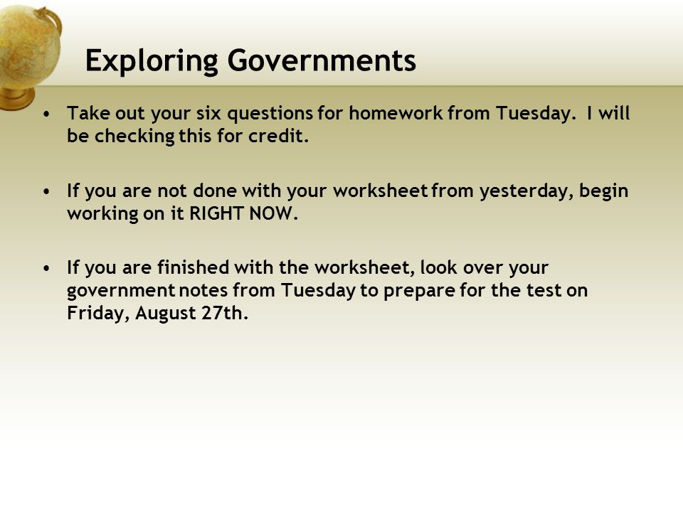 Exploring Governments