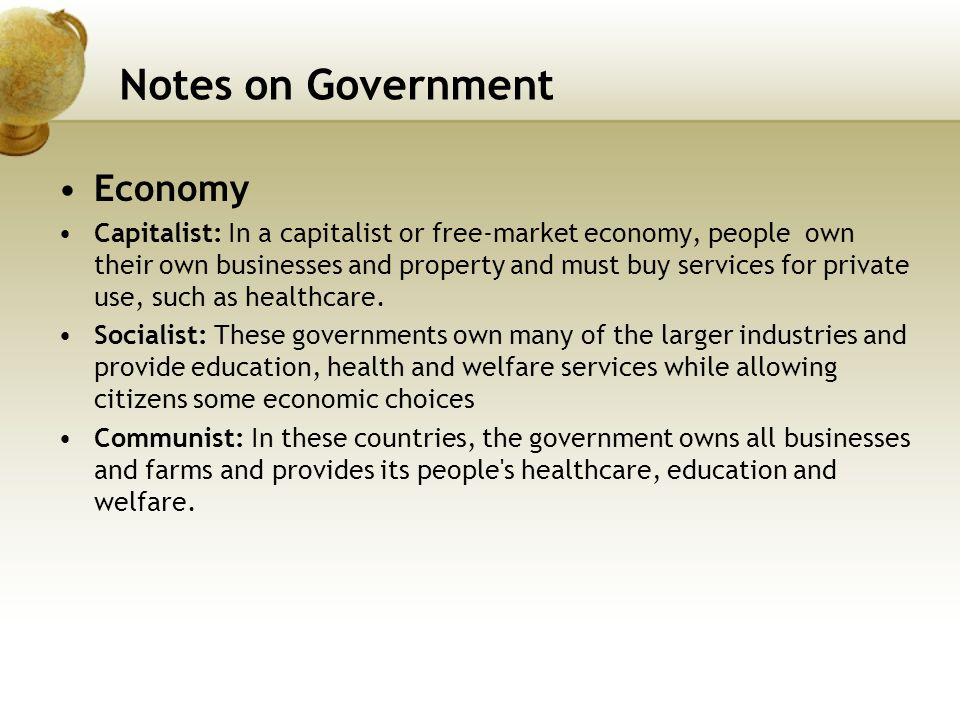 Notes on Government Economy