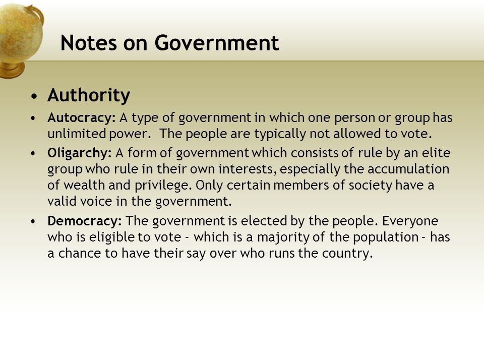 Notes on Government Authority