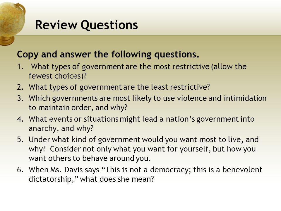 Review Questions Copy and answer the following questions.