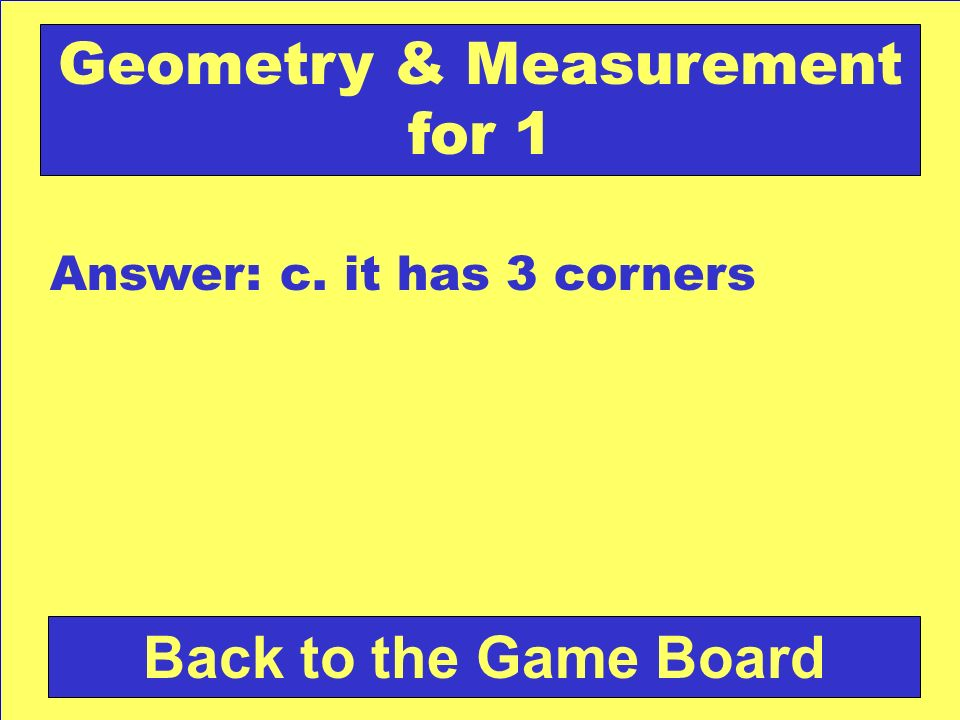 Geometry & Measurement for 1