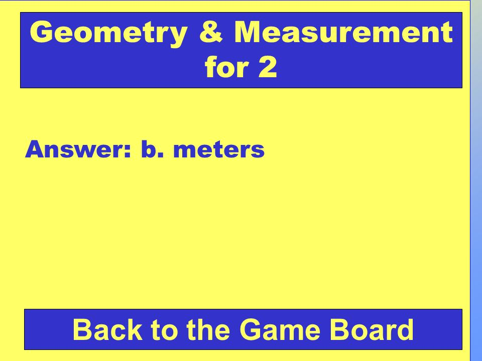 Geometry & Measurement for 2