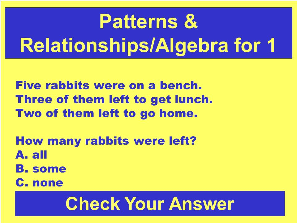 Patterns & Relationships/Algebra for 1