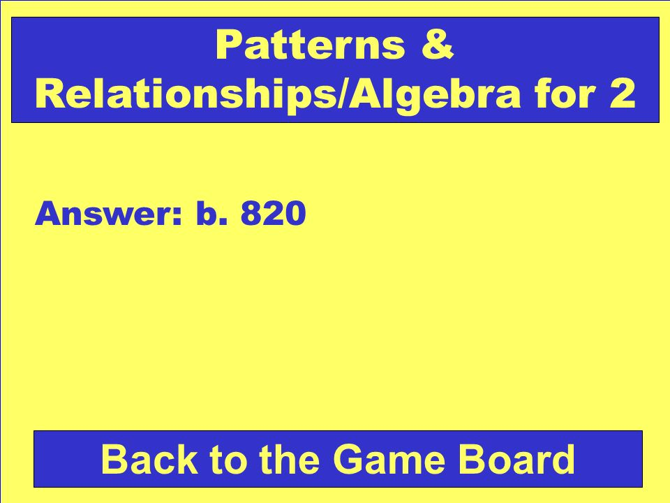 Patterns & Relationships/Algebra for 2