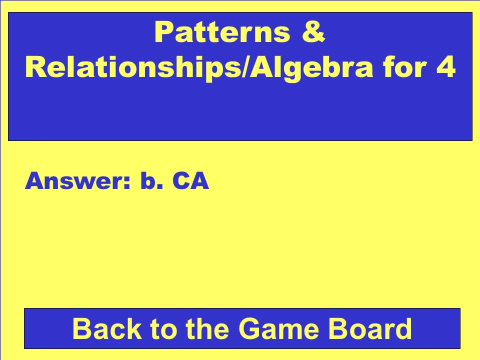 Patterns & Relationships/Algebra for 4