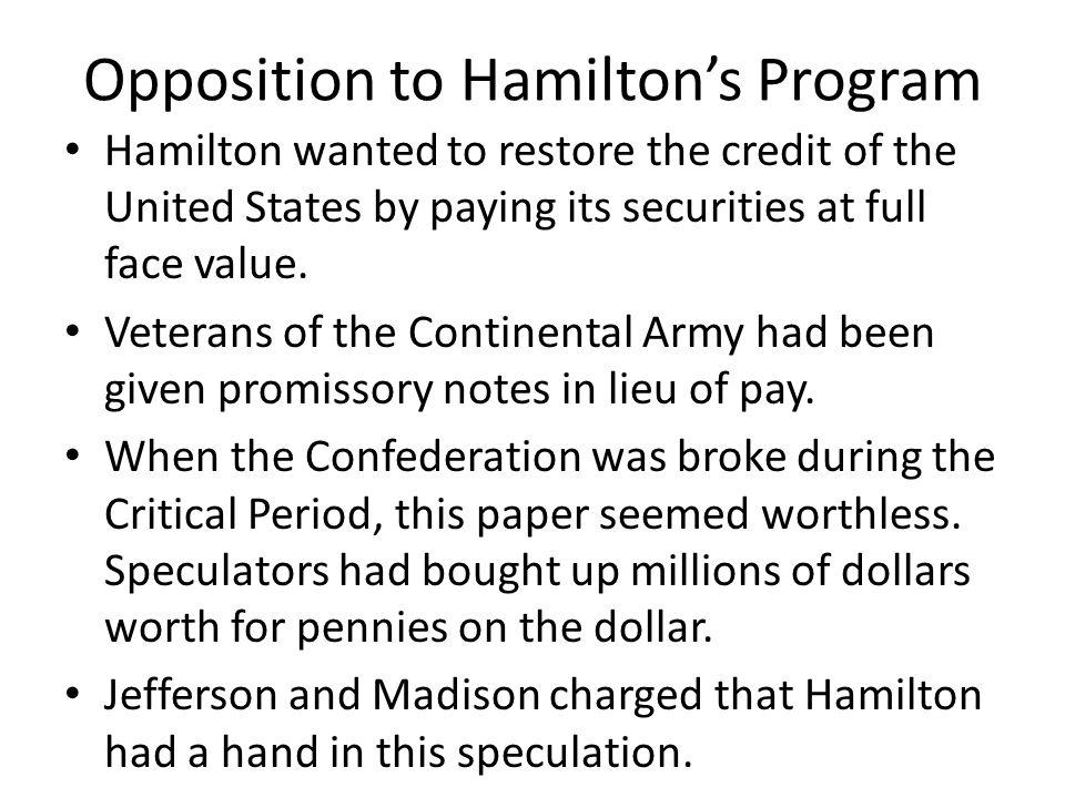 Opposition to Hamilton's Program