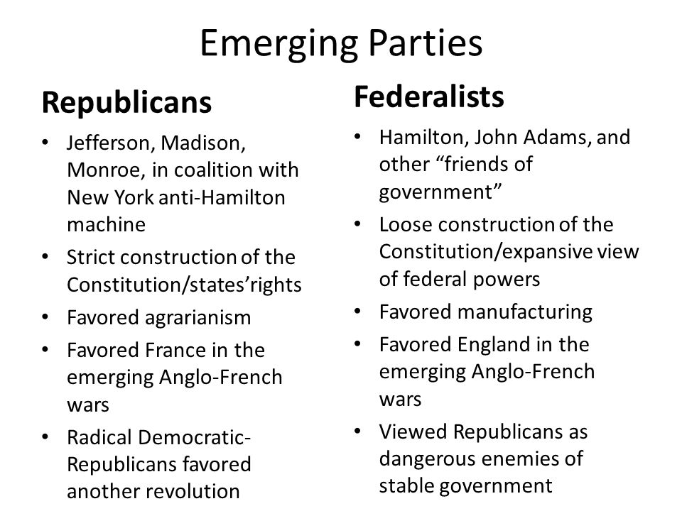 Emerging Parties Republicans Federalists