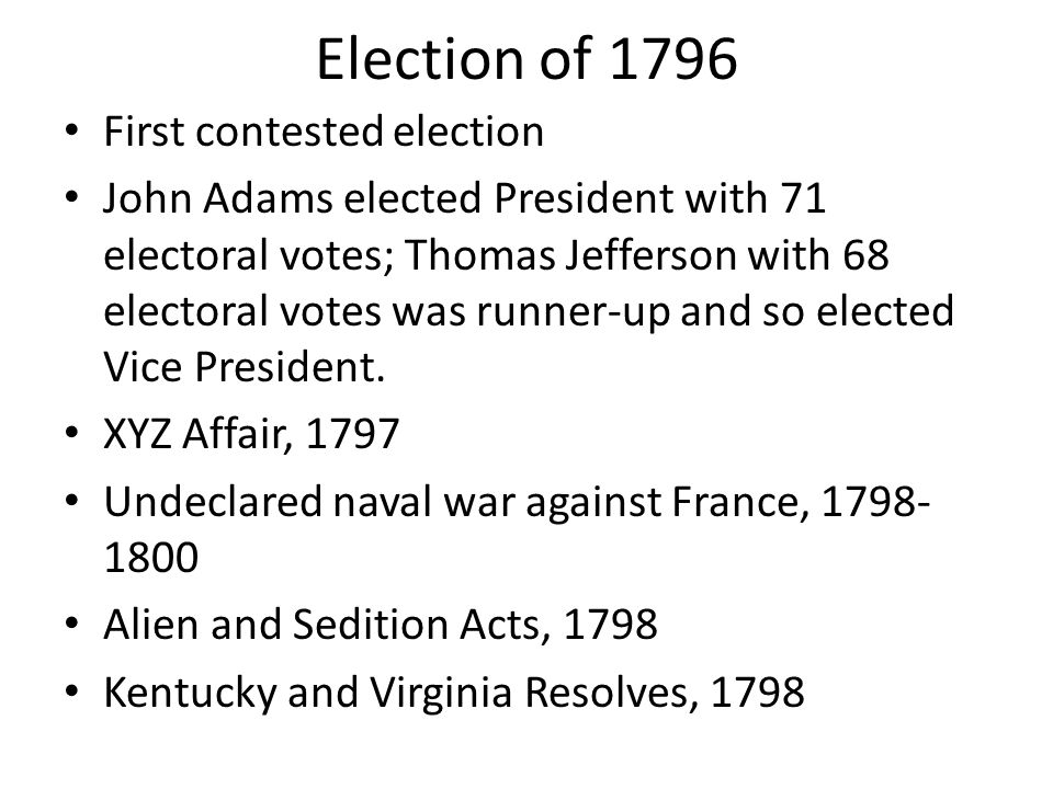 Election of 1796 First contested election