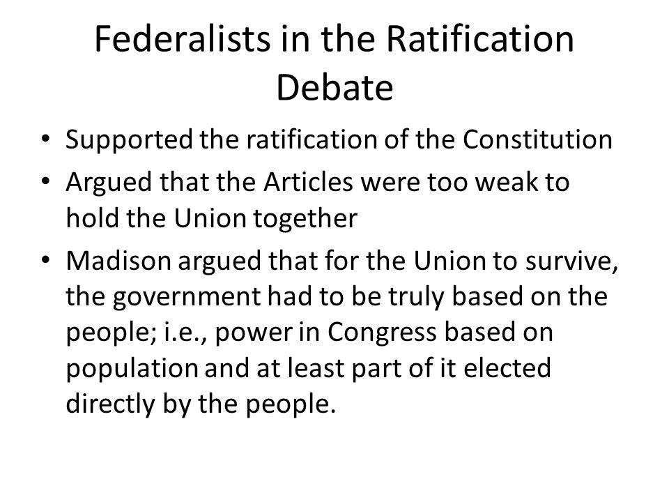 Federalists in the Ratification Debate