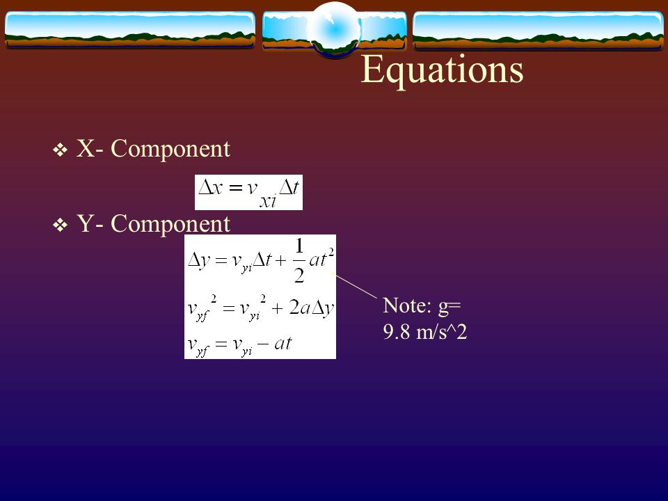 Equations X- Component Y- Component Note: g= 9.8 m/s^2
