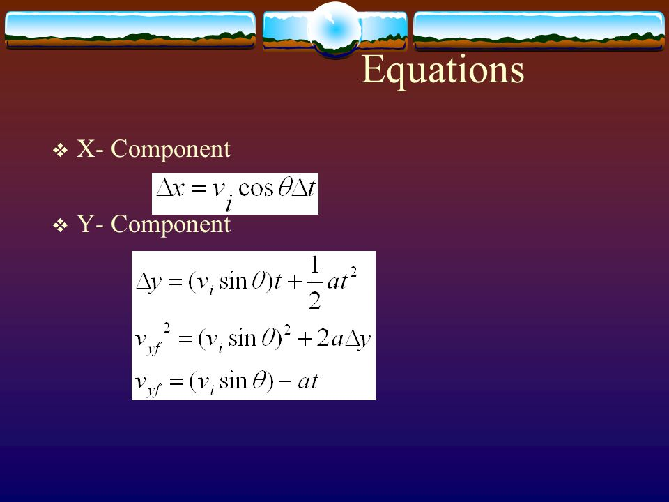 Equations X- Component Y- Component