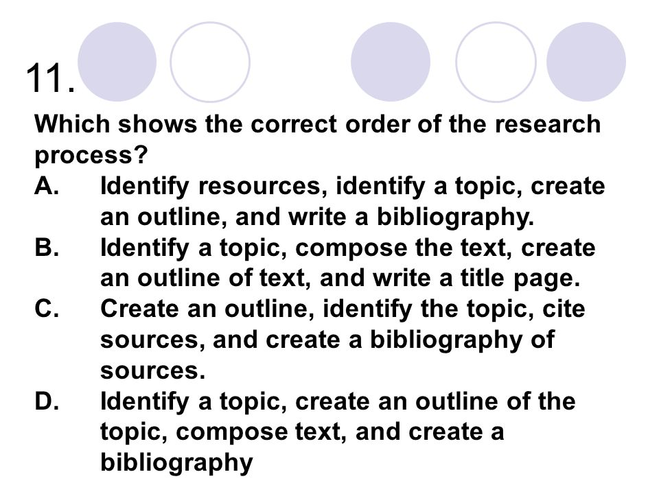 11. Which shows the correct order of the research process
